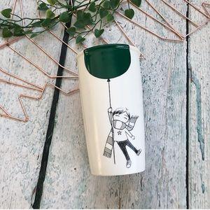 Starbucks 2014 green balloon travel mug ceramic
